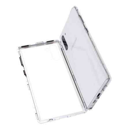 Металлический Магнитный Чехол Бампер с Закаленным Стеклом Samsung Galaxy Note 10 Серебряный