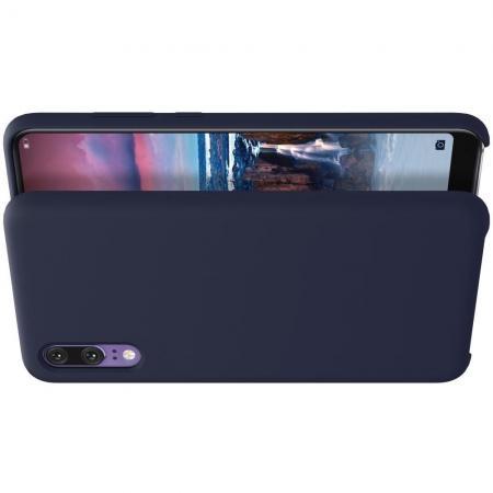 Мягкий матовый силиконовый бампер NILLKIN Flex чехол для Huawei P20 Синий