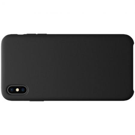 Мягкий матовый силиконовый бампер NILLKIN Flex чехол для iPhone XS Max Черный