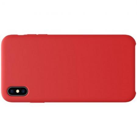 Мягкий матовый силиконовый бампер NILLKIN Flex чехол для iPhone XS Max Красный