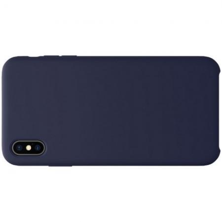 Мягкий матовый силиконовый бампер NILLKIN Flex чехол для iPhone XS Max Синий