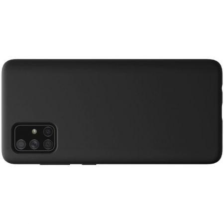 Мягкий матовый силиконовый бампер NILLKIN Flex чехол для Samsung Galaxy A51 Черный