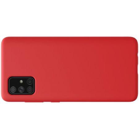 Мягкий матовый силиконовый бампер NILLKIN Flex чехол для Samsung Galaxy A71 Красный