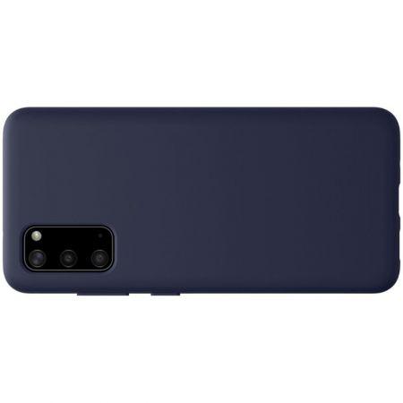 Мягкий матовый силиконовый бампер NILLKIN Flex чехол для Samsung Galaxy S20 Синий