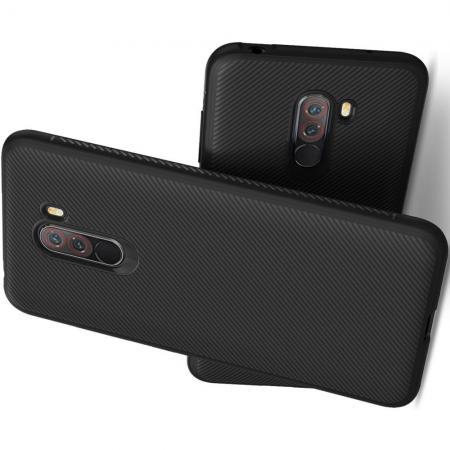 Мягкий матовый силиконовый бампер чехол для Xiaomi Pocophone F1 Черный