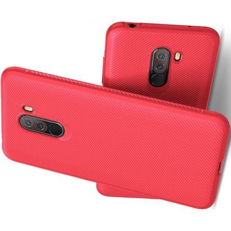 Мягкий матовый силиконовый бампер чехол для Xiaomi Pocophone F1 Красный