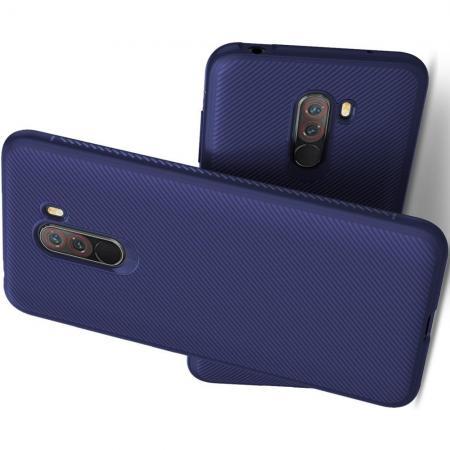 Мягкий матовый силиконовый бампер чехол для Xiaomi Pocophone F1 Синий
