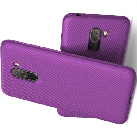 Мягкий матовый силиконовый бампер чехол для Xiaomi Pocophone F1 Фиолетовый
