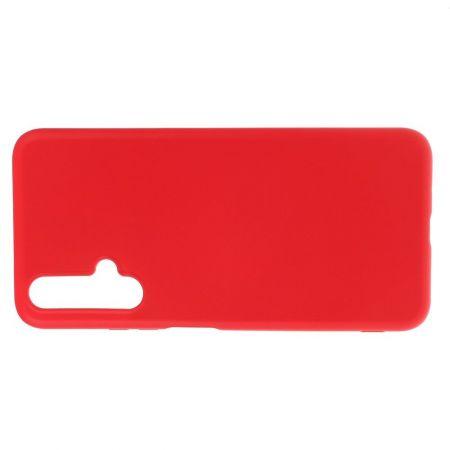 Мягкий силиконовый чехол для Huawei Honor 20 с подкладкой из микрофибры Красный