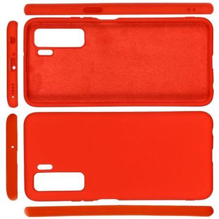 Мягкий силиконовый чехол для Huawei Honor 30S с подкладкой из микрофибры Красный
