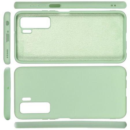Мягкий силиконовый чехол для Huawei Honor 30S с подкладкой из микрофибры Зеленый