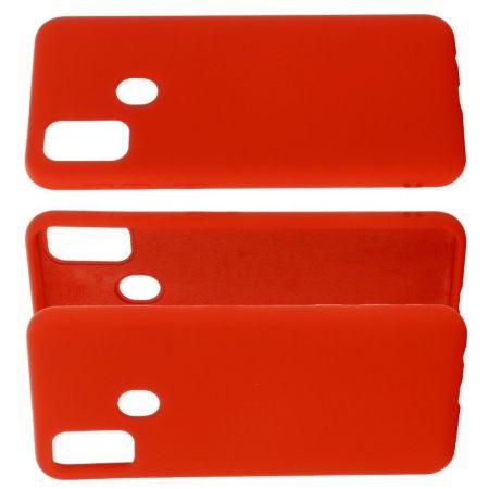 Мягкий силиконовый чехол для Huawei Honor 9A с подкладкой из микрофибры Красный