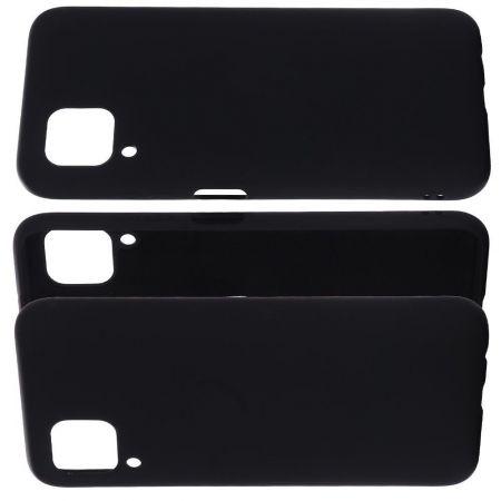 Мягкий силиконовый чехол для Huawei P40 Lite / P40 Lite с подкладкой из микрофибры Черный