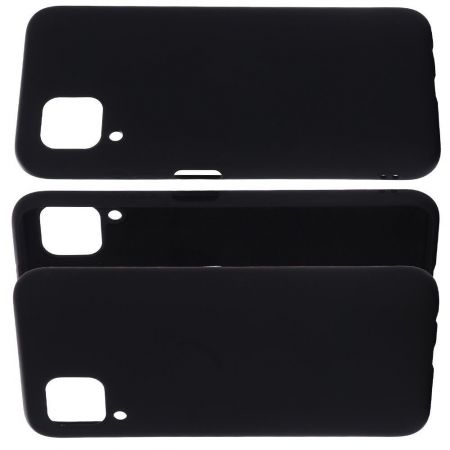 Мягкий силиконовый чехол для Huawei P40 Lite с подкладкой из микрофибры Черный