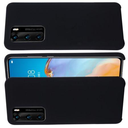Мягкий силиконовый чехол для Huawei P40 Pro с подкладкой из микрофибры Черный
