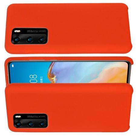 Мягкий силиконовый чехол для Huawei P40 Pro с подкладкой из микрофибры Красный