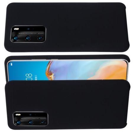 Мягкий силиконовый чехол для Huawei P40 с подкладкой из микрофибры Черный