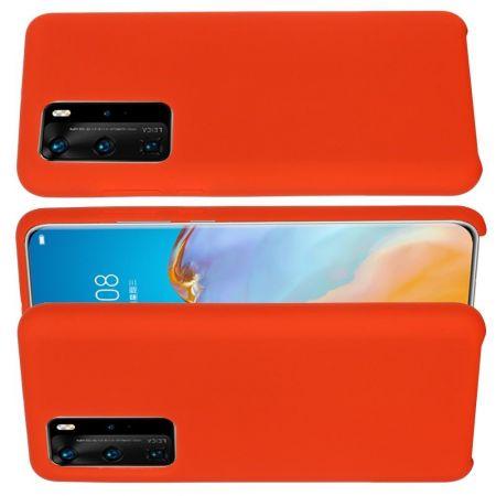 Мягкий силиконовый чехол для Huawei P40 с подкладкой из микрофибры Красный