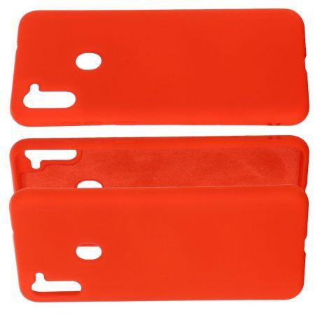 Мягкий силиконовый чехол для Samsung Galaxy A11 / Galaxy M11 с подкладкой из микрофибры Красный