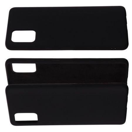 Мягкий силиконовый чехол для Samsung Galaxy A71 с подкладкой из микрофибры Черный