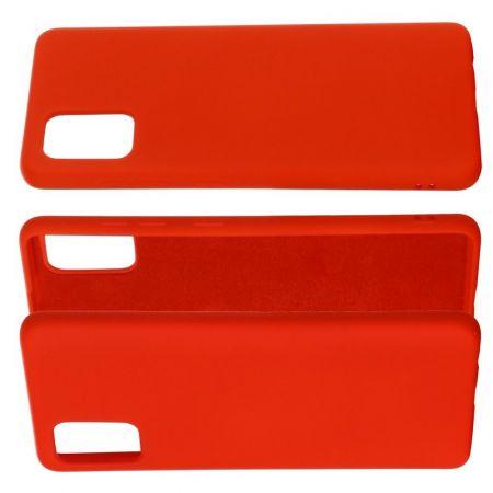 Мягкий силиконовый чехол для Samsung Galaxy A71 с подкладкой из микрофибры Красный