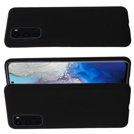 Мягкий силиконовый чехол для Samsung Galaxy S20 Plus с подкладкой из микрофибры Черный