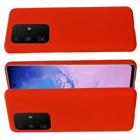 Мягкий силиконовый чехол для Samsung Galaxy S20 Ultra с подкладкой из микрофибры Красный