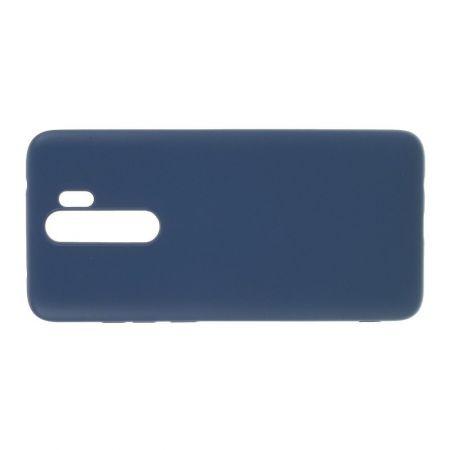 Мягкий силиконовый чехол для Xiaomi Redmi Note 8 Pro с подкладкой из микрофибры Синий