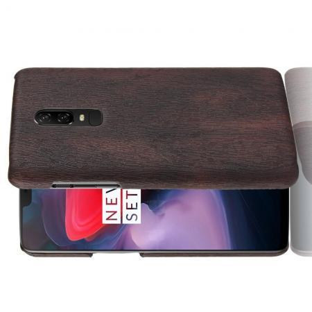 Натуральный Матовый Деревянный Эксклюзивный Чехол Накладка для OnePlus 6 Коричневый