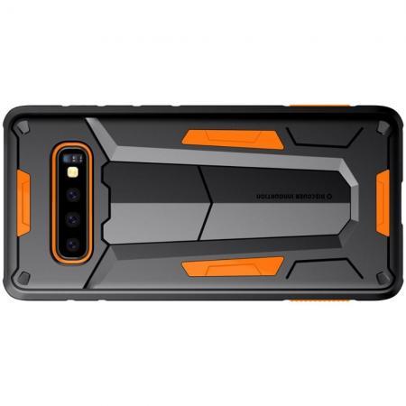 Nillkin Defender Бронированный Противоударный Чехол Бампер для Samsung Galaxy S10 Plus Оранжевый