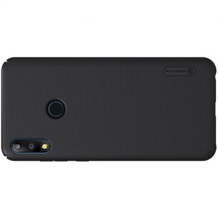 Пластиковый нескользящий NILLKIN Frosted кейс чехол для Asus Zenfone Max Pro M2 ZB631KL Черный + подставка