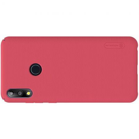 Пластиковый нескользящий NILLKIN Frosted кейс чехол для Asus Zenfone Max Pro M2 ZB631KL Красный + подставка