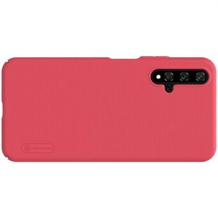 Пластиковый нескользящий NILLKIN Frosted кейс чехол для Huawei Honor 20 Красный + подставка