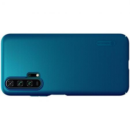 Пластиковый нескользящий NILLKIN Frosted кейс чехол для Huawei Honor 20 Pro Синий + подставка