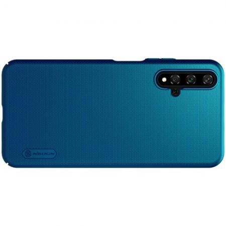 Пластиковый нескользящий NILLKIN Frosted кейс чехол для Huawei Honor 20 Синий + подставка