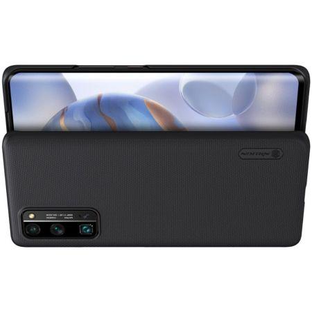 Пластиковый нескользящий NILLKIN Frosted кейс чехол для Huawei Honor 30 Pro Черный + подставка