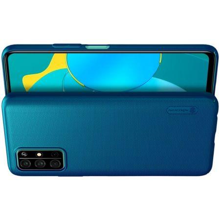 Пластиковый нескользящий NILLKIN Frosted кейс чехол для Huawei Honor 30S Синий + подставка