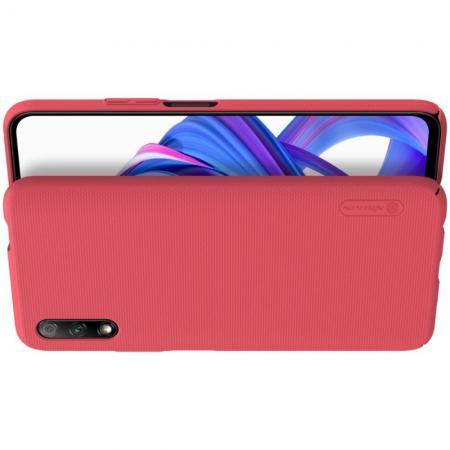 Пластиковый нескользящий NILLKIN Frosted кейс чехол для Huawei Honor 9X Pro / Honor 9X Красный + подставка