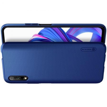 Пластиковый нескользящий NILLKIN Frosted кейс чехол для Huawei Honor 9X Pro / Honor 9X Синий + подставка