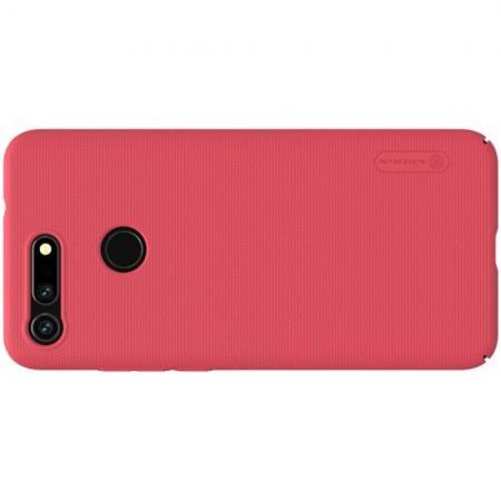 Пластиковый нескользящий NILLKIN Frosted кейс чехол для Huawei Honor View 20 (V20) Красный + защитная пленка