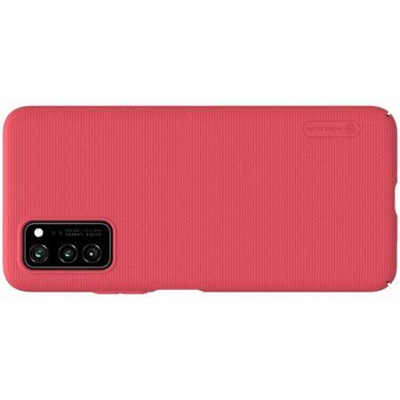 Пластиковый нескользящий NILLKIN Frosted кейс чехол для Huawei Honor View 30 / View 30 Pro / 30 Pro Красный + подставка