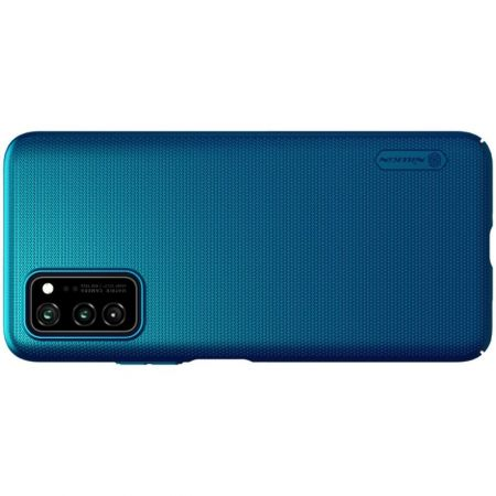 Пластиковый нескользящий NILLKIN Frosted кейс чехол для Huawei Honor View 30 / View 30 Pro / 30 Pro Синий + подставка