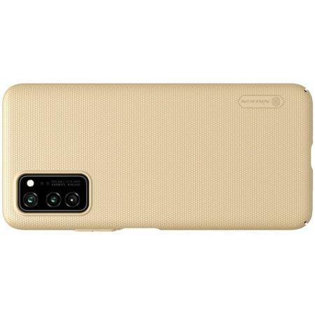 Пластиковый нескользящий NILLKIN Frosted кейс чехол для Huawei Honor View 30 / View 30 Pro / 30 Pro Золотой + подставка