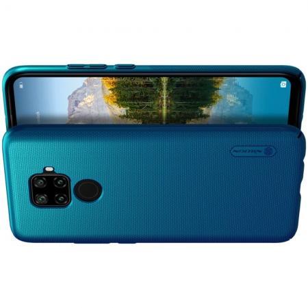 Пластиковый нескользящий NILLKIN Frosted кейс чехол для Huawei Mate 30 Lite Синий + подставка