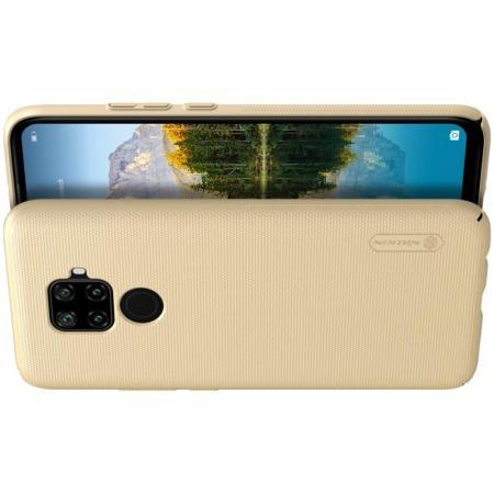 Пластиковый нескользящий NILLKIN Frosted кейс чехол для Huawei Mate 30 Lite Золотой + подставка