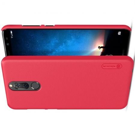 Пластиковый нескользящий NILLKIN Frosted кейс чехол для Huawei Nova 2i / Mate 10 Lite Красный + подставка