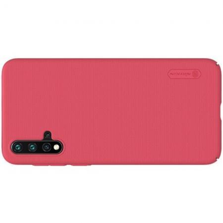Пластиковый нескользящий NILLKIN Frosted кейс чехол для Huawei Nova 5 Красный + подставка