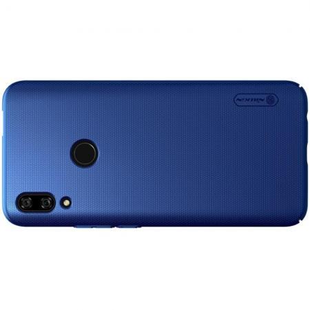 Пластиковый нескользящий NILLKIN Frosted кейс чехол для Huawei P Smart Z Синий + подставка