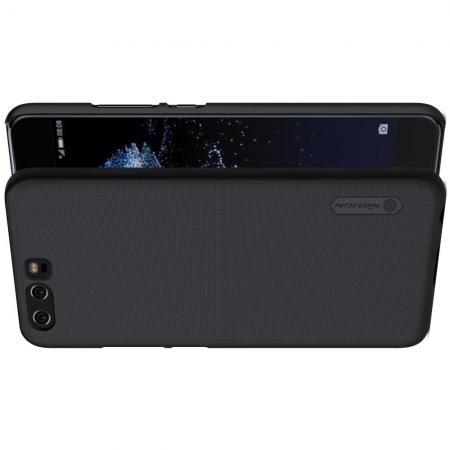 Пластиковый нескользящий NILLKIN Frosted кейс чехол для Huawei P10 Черный + подставка