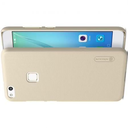 Пластиковый нескользящий NILLKIN Frosted кейс чехол для Huawei P10 Lite Золотой + подставка